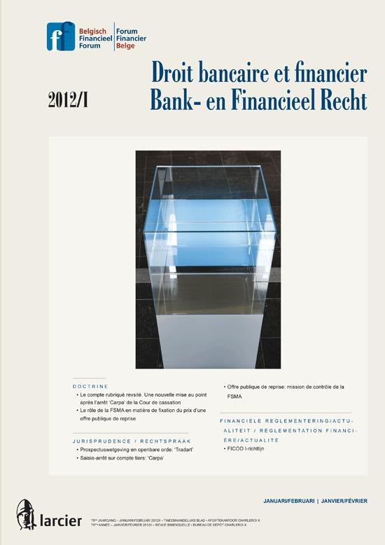 DROIT BANCAIRE...FINANCIEEL RECHT 2012/1