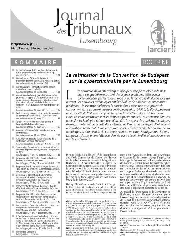 JOURNAL DES TRIBUNAUX LUXEMBOURG 2015/3