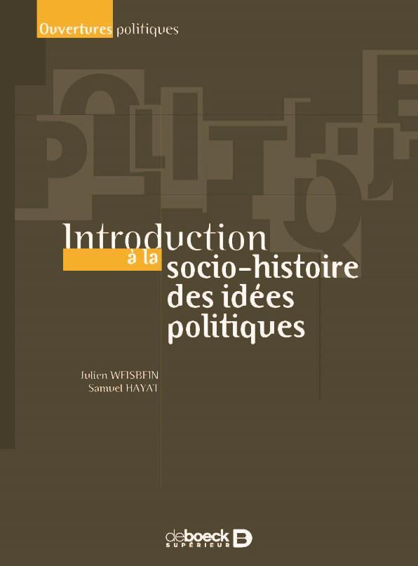 INTRODUCTION A LA SOCIO-HISTOIRE DES IDEES POLITIQUES