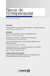 REVUE DE L'ENTREPRENEURIAT 2016/2 - VARIA