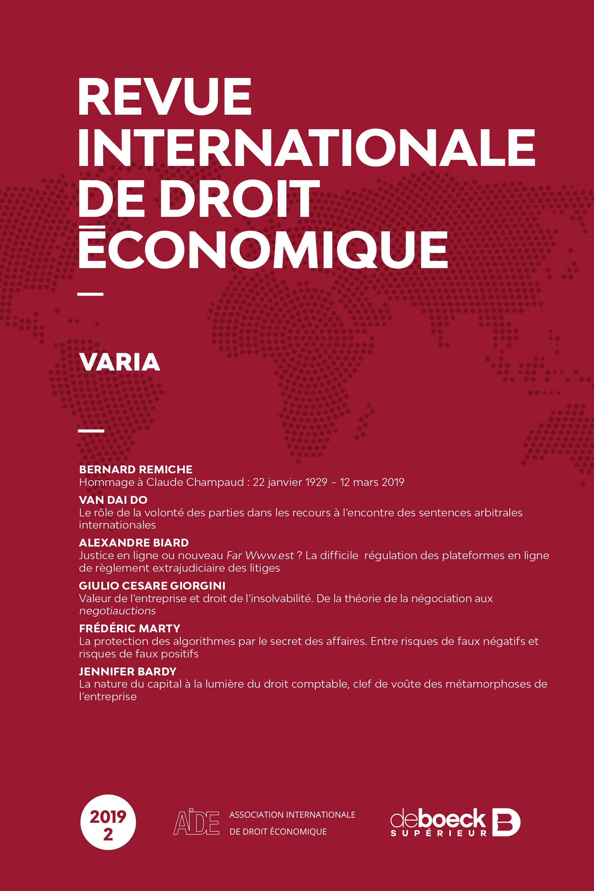 REVUE INTERNATIONALE DE DROIT ECONOMIQUE 2019/2 - VARIA
