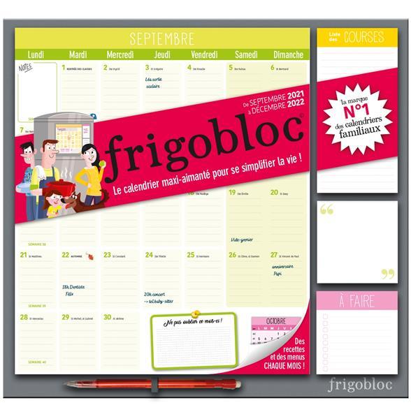 Frigobloc mensuel 2022 - calendrier d'organisation familiale par mois (de sept. 2021 a dec. 2022)