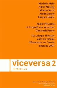 VICEVERSA LITTERATURE, REVUE SUISSE D ECHANGES LITTERAIRES N02/2008
