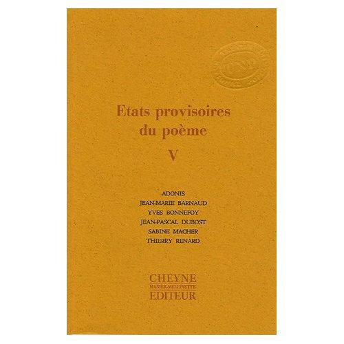 ETATS PROVISOIRES DU POEME V