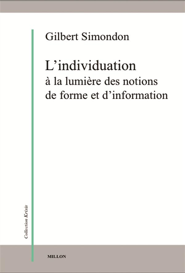 INDIVIDUATION A LA LUMIERE DES NOTIONS DE FORME...