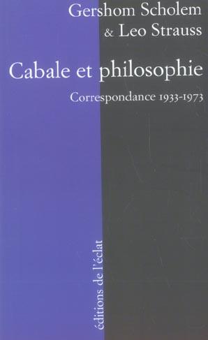 CABALE ET PHILOSOPHIE. CORRESPONDANCE 1933-1973