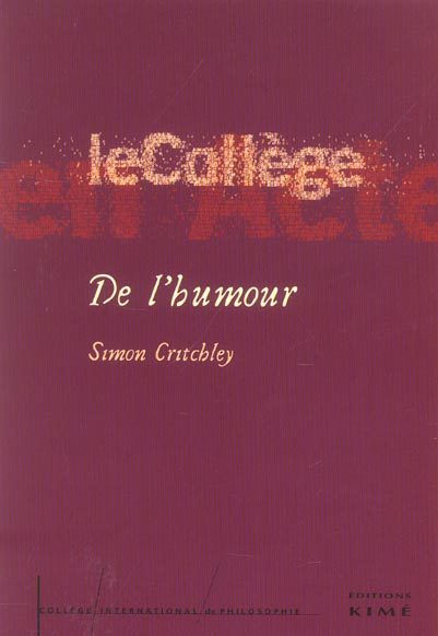 DE L'HUMOUR - COLLEGE INTERNATIONAL DE PHILOSOPHIE