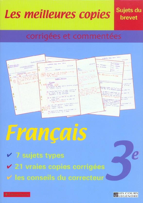 MEILLEURES COPIES FRANCAIS 3E (LES) COURS LEGENDRE