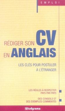 REDIGER SON CV EN ANGLAIS
