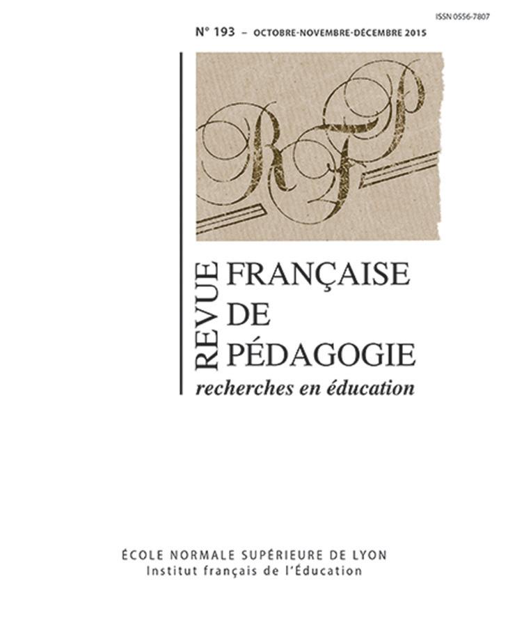 REVUE FRANCAISE DE PEDAGOGIE, N 193/2015. VARIA