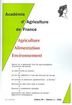 COMPTES RENDUS DE L'AAF VOL 89 N  3 2003 GESTION DE LA BIODIVERSITE DANS LES AGROECOSYSTEMES ET PROT