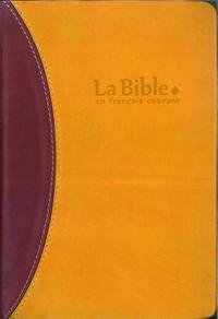 LA BIBLE EN FRANCAIS COURANT + DC SOUPLE  SIMILI DUO ORANGE BRUN TR;OR