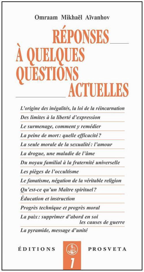 REPONSES A QUELQUES QUESTIONS ACTUELLES