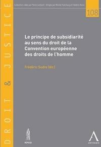 LE PRINCIPE DE SUBSIDIARITE AU SENS DE LA CEDH - SOUS LA DIRECTION DE FREDERIC SUDRE