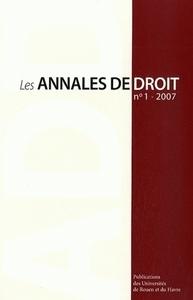 LES ANNALES DE DROIT, N 1/2007