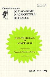 QUALITE DES EAUX & AGRICULTURE (COMPTES RENDUS VOL.78 N. 7/1992)