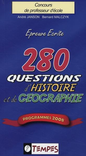 280 QUESTIONS D'HISTOIRE ET DE GEOGRAPHIE
