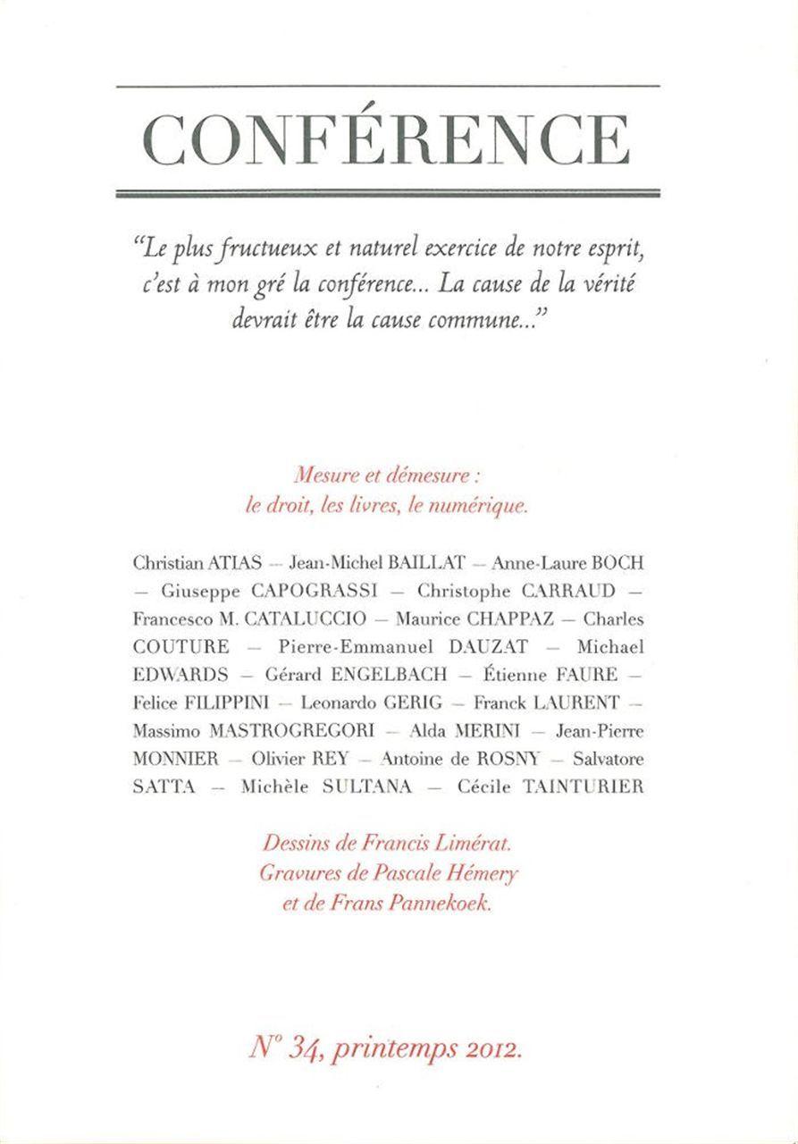 CONFERENCE N 34 - PRINTEMPS 2012