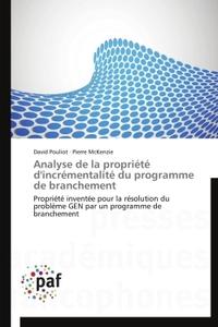 ANALYSE DE LA PROPRIETE D'INCREMENTALITE DU PROGRAMME DE BRANCHEMENT