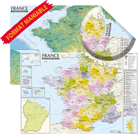 FRANCE. CARTE PHYSIQUE ET ADMINISTRATIVE (MURALE,