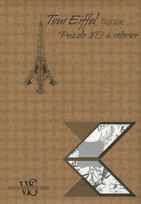 TOUR EIFFEL FLORALE - PUZZLE 3D A COLORIER