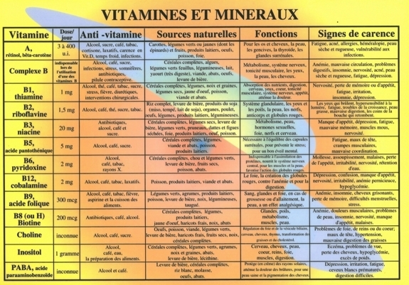 PLANCHES VITAMINES ET MINERAUX - A4