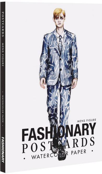 FASHIONARY WATERCOLOR POSTCARDS BOOK MEN /ANGLAIS