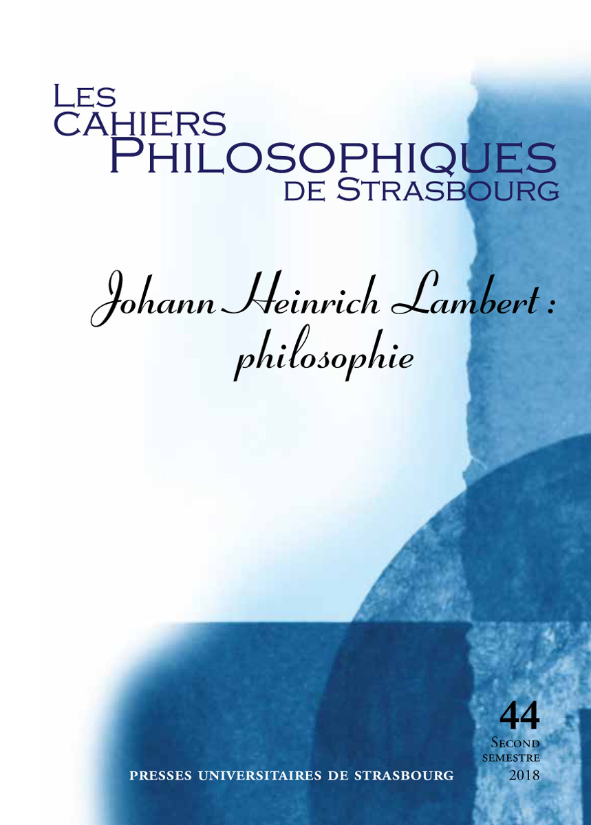 JOHANN HEINRICH LAMBERT  PHILOSOPHIE