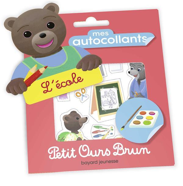 Mes autocollants petit ours brun - l'ecole