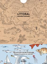 LITTORAL MER MEDITERRANEE - AFFICHE A COLORIER