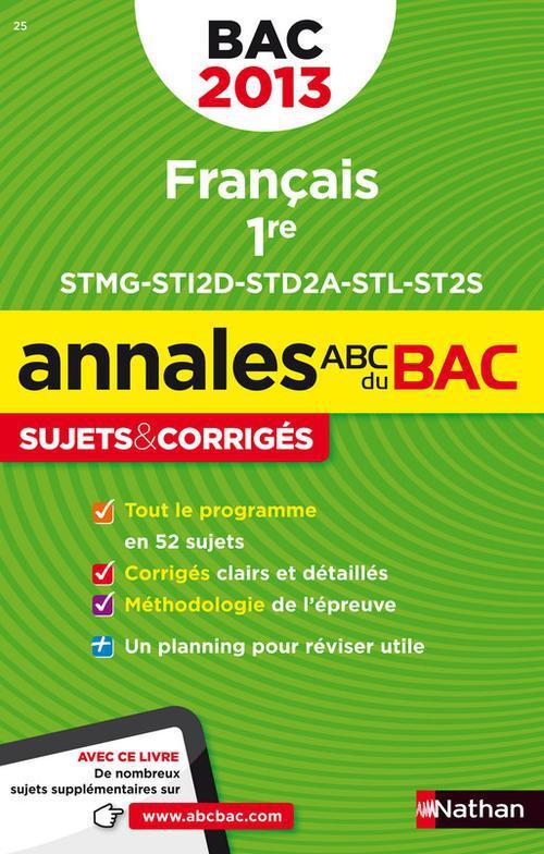 ANNALES BAC 2013 FRANCAIS 1ERE ST CORRIGES N19