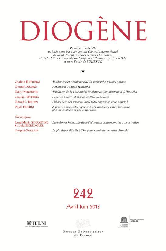 DIOGENE 2013, N  242 - TENDANCES ET DEBATS DANS L'EPISTEMOLOGIE CONTEMPORAINE