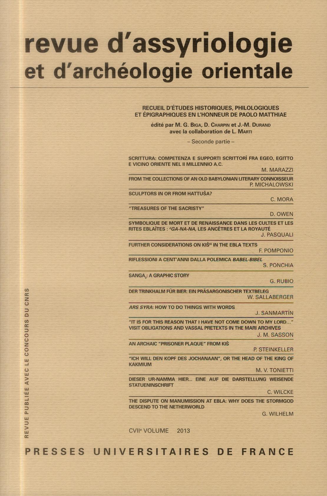 REV. D'ASSYRIO. ET D'ARCHEO. ORIENT. 2013, VOL. 107 - VARIA