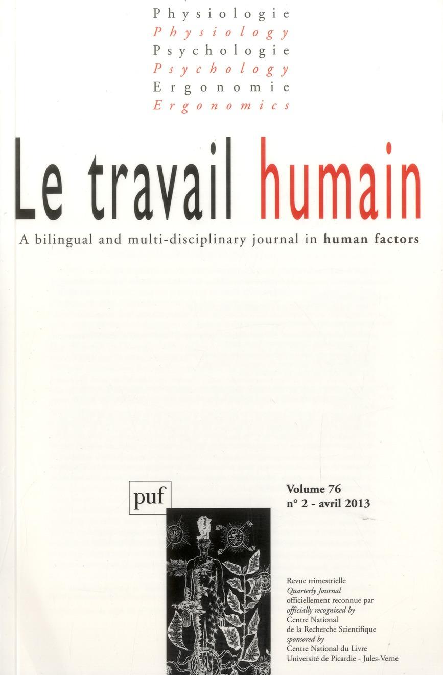 TRAVAIL HUMAIN 2013, VOL. 76 (2) - VARIA