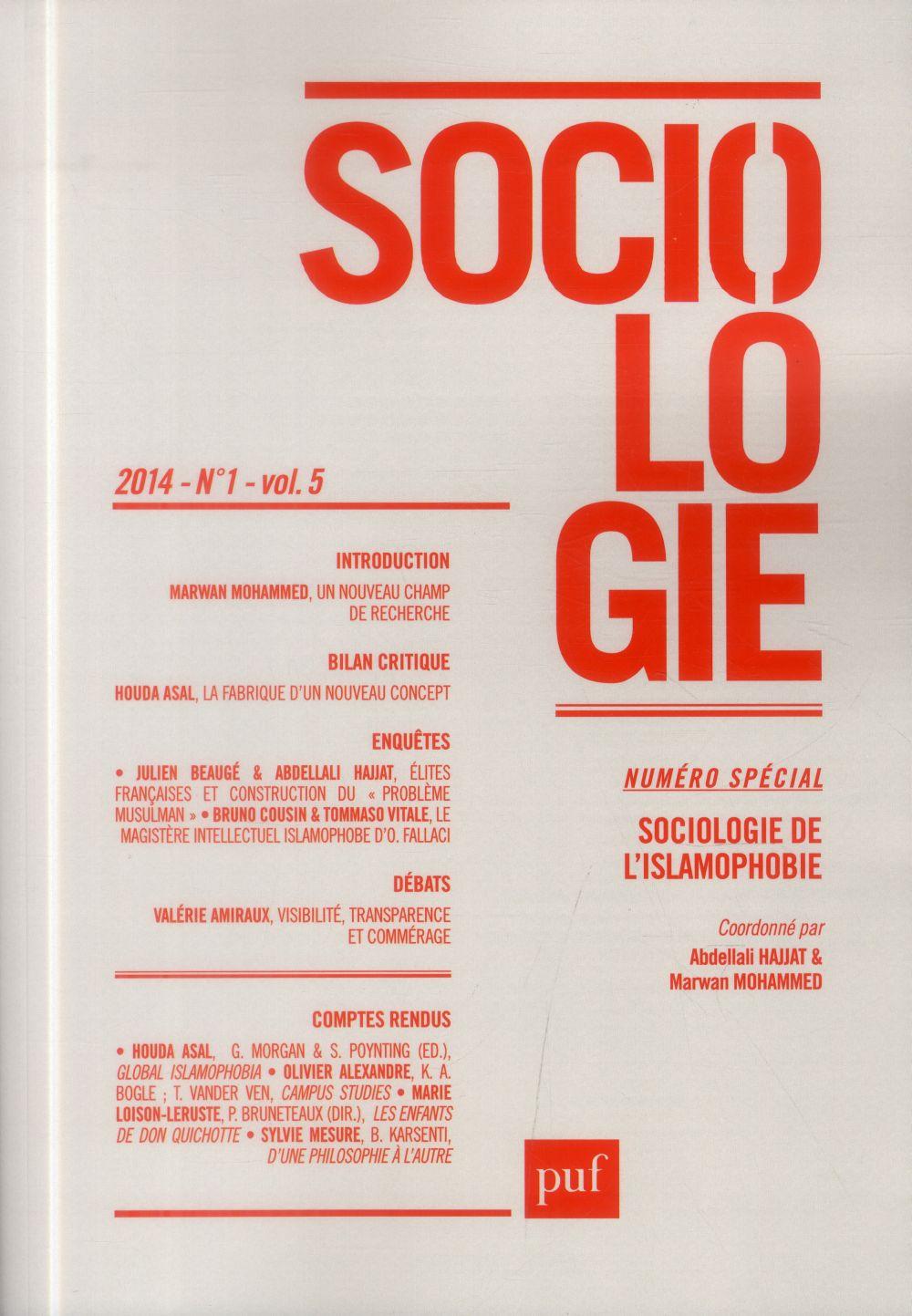 SOCIOLOGIE 2014, N  1 - SOCIOLOGIE DE L'ISLAMOPHOBIE
