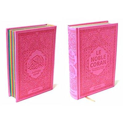 NOBLE CORAN AVEC PAGES ARC-EN-CIEL (RAINBOW) - BILINGUE (FR/AR) - COUVERTURE DAIM ROSE