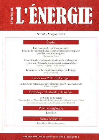 LA REVUE DE L ENERGIE 607 2012