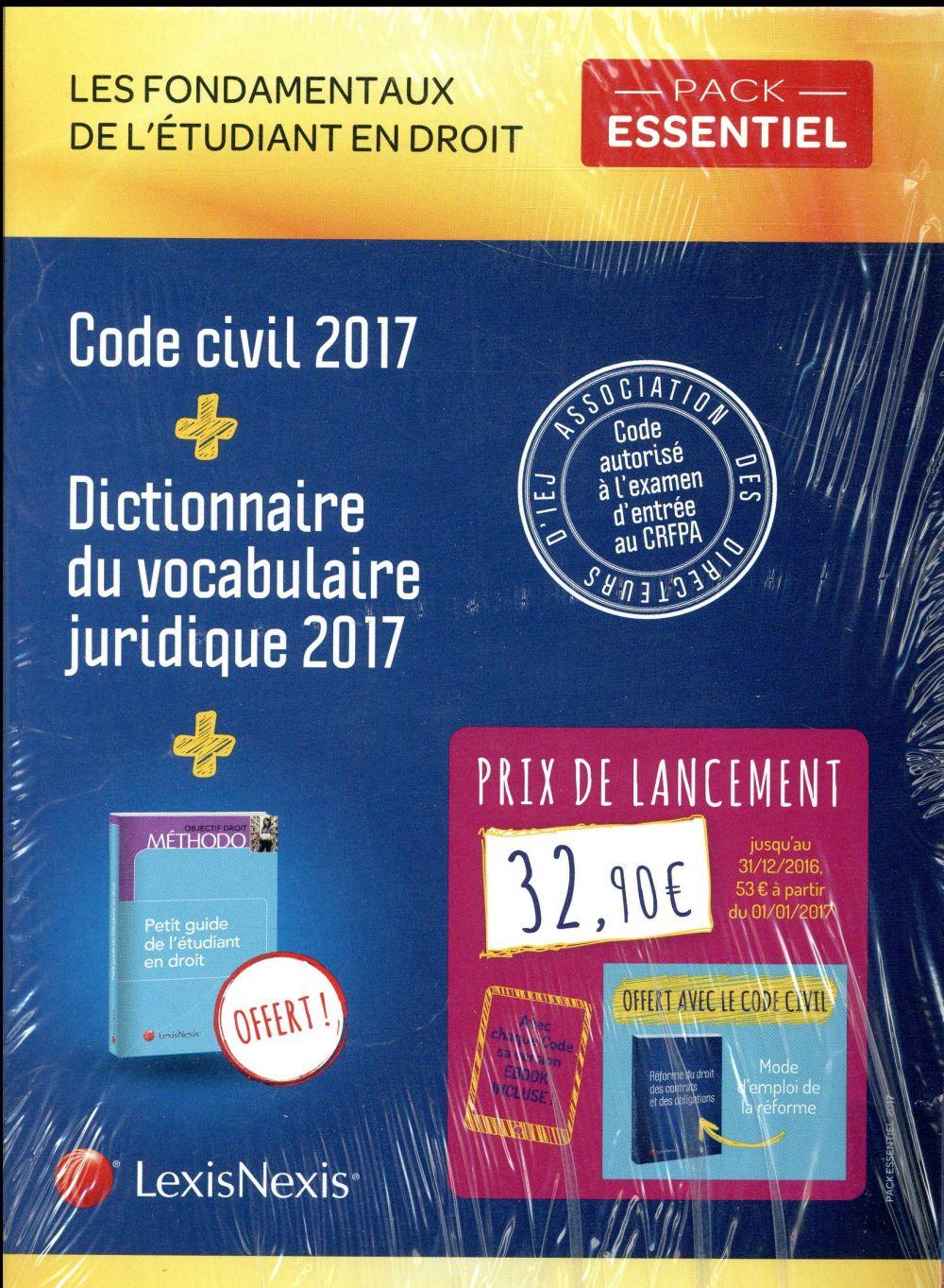 PACK ETUDIANT ESSENTIEL  CODE CIVIL 2017 + DICTIONNAIRE DU VOCABULAIRE JURIDIQUE - AVEC CHAQUE CODE
