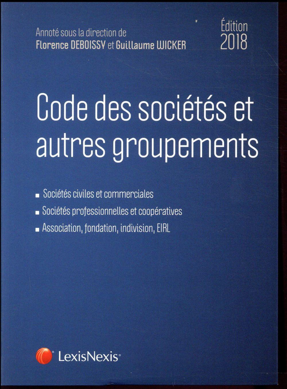 CODE DES SOCIETES ET AUTRES GROUPEMENTS 2018 - SOCIETES CIVILES ET COMMERCIALES  SOCIETES PROFESSION
