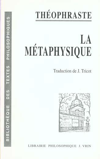 LA METAPHYSIQUE