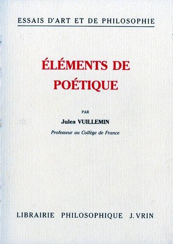 ELEMENTS DE POETIQUE (SUR LA POETIQUE D'ARISTOTE)