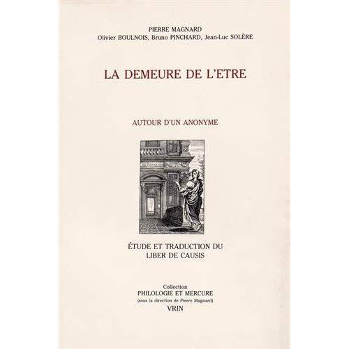 LIBER DE CAUSIS LA DEMEURE DE L'ETRE AUTOUR D'UN ANONYME