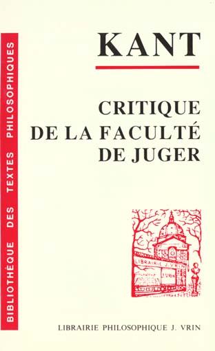 CRITIQUE DE LA FACULTE DE JUGER