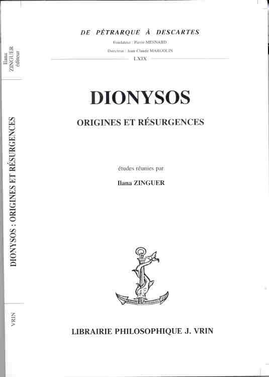DIONYSOS ORIGINES ET RESURGENCES