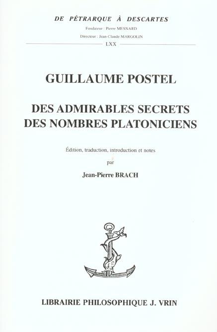 DES ADMIRABLES SECRETS DES NOMBRES PLATONICIENS