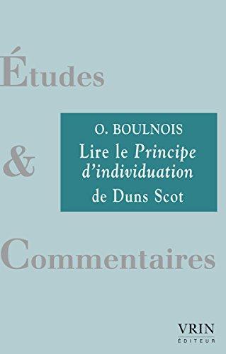 LIRE LE PRINCIPE D INDIVIDUATION DE DUNS SCOT