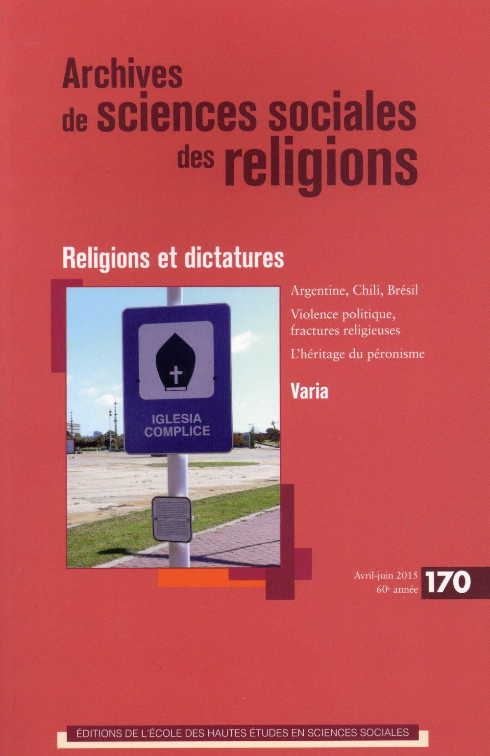 ARCHIVES DE SCIENCES SOCIALES DES RELIGIONS 170