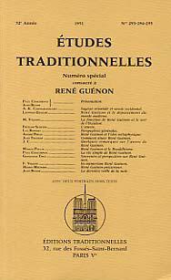 ETUDES TRADITIONNELLES : SPECIAL RENE GUENON