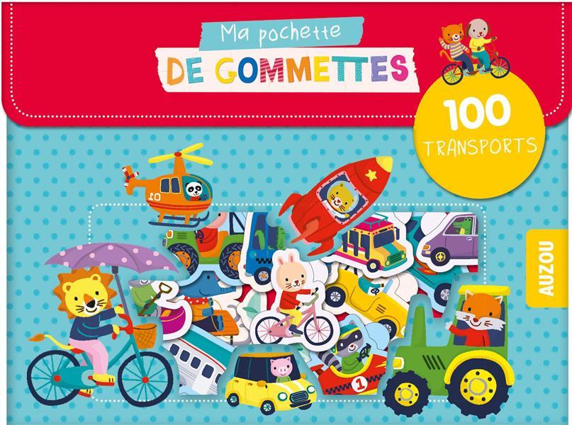 MA POCHETTE DE GOMMETTES - 100 GOMMETTES  LES TRANSPORTS - 100 TRANSPORTS
