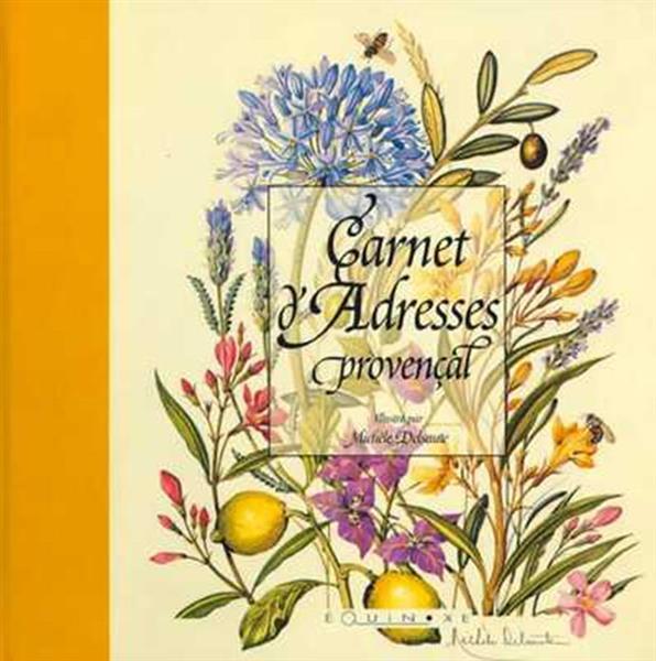 CARNET D ADRESSES PROVENCAL DELSAUTE RELIURE TOILEE JAUNE
